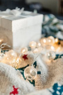 kaboompics_White decorative gift box and Christmas lights on a blanket.jpg